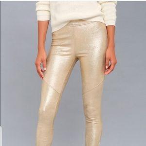 Free people gold leggings  size 26